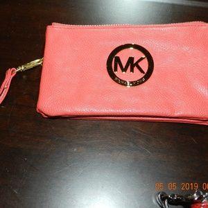 Michael Kors Deep Peach Wallet with Wrist Strap